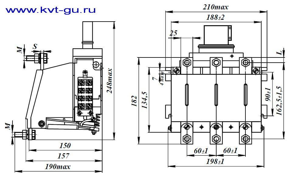 Контактор вакуумный КВТ-1,14-4/400-2,5/250 габаритные размеры