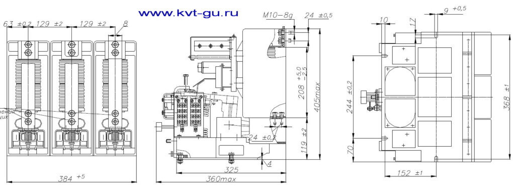 Габариты контактора вакуумного 10 кВ, 400 Ампер КВТ-10-4/400 У2 УХЛ5
